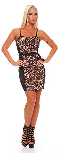 Damen Minikleid Kurzes Kleid Dress Clubwear Gogo Abendklleid Sexy im Leo-Look Gr. S M 36 38, 1566 Leobraun S/M