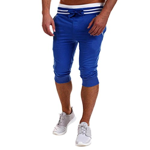 Herren Shorts, SHOBDW Mens Loose Jogger Shorts Casual Gym Hose Harem Hosen Sport Shorts (S, Blau) (Male Falten-shorts Casual)