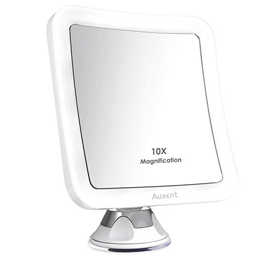 Kosmetikspiegel LED Beleuchtet mit 10-facher Vergrößerung und Starkem Saugnapf, 360° Schwenkbar, Auxent Schminkspiegel viereckig mit Blendfreier Beleuchtung für Zuhause und Unterwegs