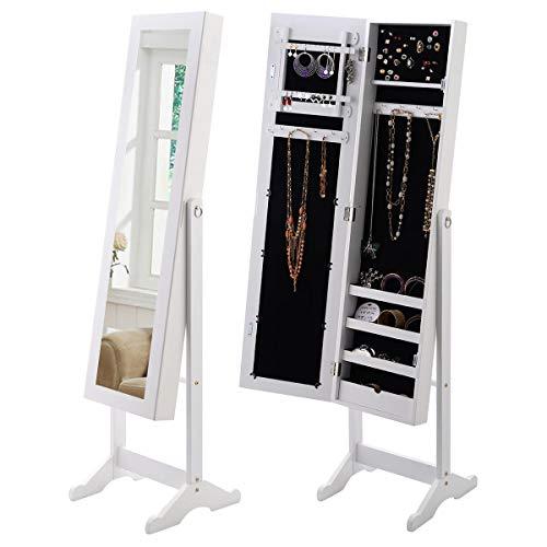 COSTWAY Schmuckschrank Standspiegel Spiegelschrank Schmuckkasten Schmuck 33 x 37 x 142cm weiß