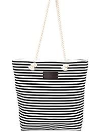 Ocamo Ladies Girls Shopper Canvas Tote Bag Casual Striped Women Large Shoulder Bag Handbag