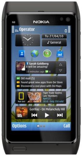 Nokia N8 Smartphone (Fotocamera 12 MP Carl-Zeiss, Flash Xenon, Presa HDMI, Multi-Touch, Mappe Ovi ), colore: Nero [Importato da Germania]