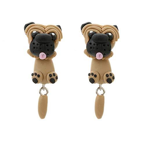 Tresar Ohrhänger für Kinder Mädchen Soft Clay Tropfen Geschenk für Mädchen Freundin Shar Pei Hund 4cm/1.6