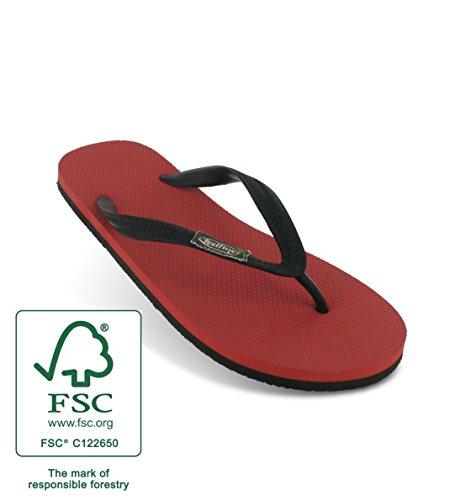 Tongs Feelfinez Sevilla, rouge – noir, caoutchouc naturel, thongs jusqua la taille 49/50 rouge – noir
