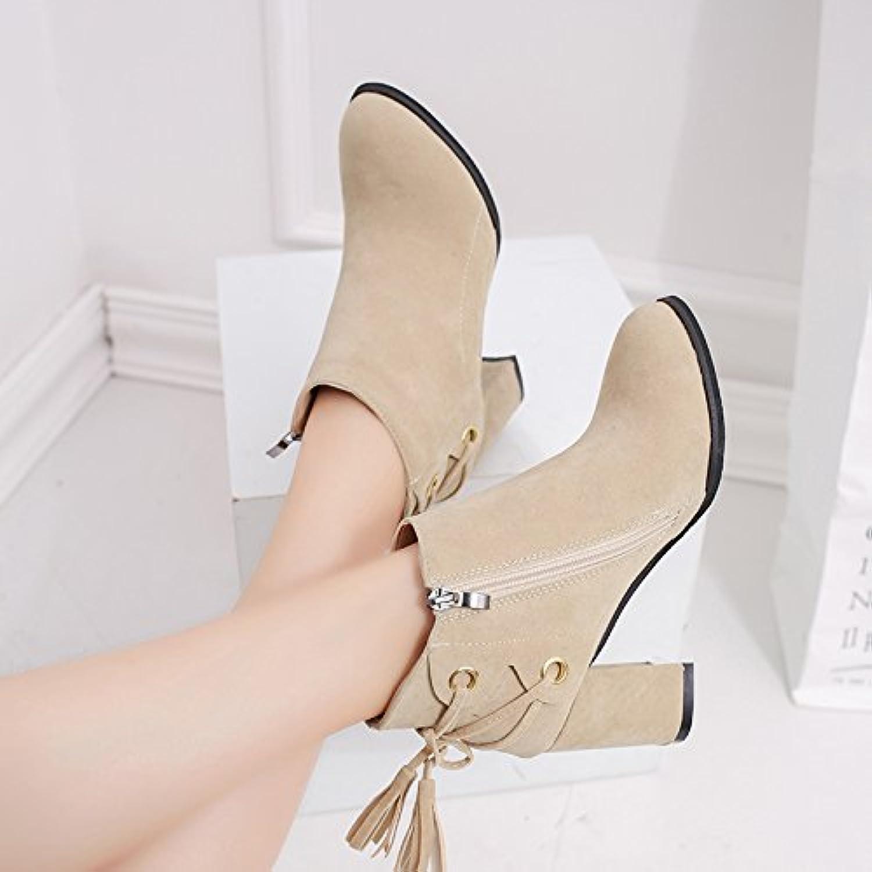 KHSKX-Talon Haut Talon De Chaussures Chaussures Chaussures Bottes Et Chaussures Blanches Nues Blanc De Martin Bottes Avec Du Gravier - B0785F3YGY - a4b4cb