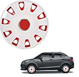 Oshotto OSHO-WC53RW 12-inch Red and White Double Paint Finish Universal Fitting-Push Type Car Wheel Cover (Set of 4)