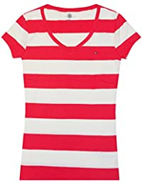 Tommy Hilfiger Mujer Amplia Rayas Logo V-neck T-Shirt (color rosa/blanco)