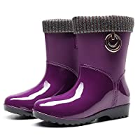 ZWXDMY Wellies,Wellington Ms Purple Round Head Glossy Waterproof Rain Boots Middle Tube Slip Wear-Resistant Ankle Boots Wild Fashion Shoes
