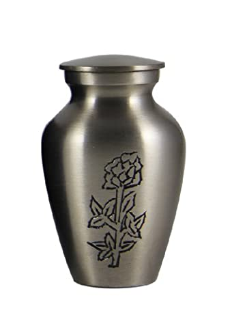 Cremation Keepsake Urns: Blossoming Rose Engraved Small Memorial Urn for Ashes