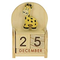 Namesakes Giraffe Perpetual Calendar : Handcrafted Wooden Date Blocks : Novelty Xmas Stocking Filler Gift : Fun present for adults, kids, boys, girls, him & her! Size 10.5 x 7 x 3.5cm