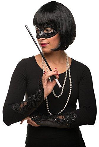 ob Cabaret Page Perücke schwarz + Perlenkette + venezianische Maske + Handschuhe + Zigarettenhalter Fasching Karneval Kostüm - Verkleidung Frauen / Damen (Cleopatra Kostüme Für Frauen)