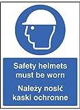 Caledonia segni 15250e Caschi di sicurezza devono essere indossati Sign, inglese/Smalto, 200mm x 150mm, plastica rigida