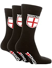 6 Pairs Mens England Suit Socks Black with Shield Size 6 - 11 ENG08