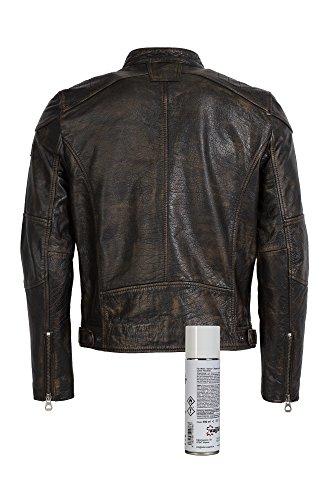 Super modische Lederjacke mit tollem schwarzem Vintage Look Trendmodell vom Lifestylelabel Gipsy mit großem Leder Wagner Imprägnierspray - 2