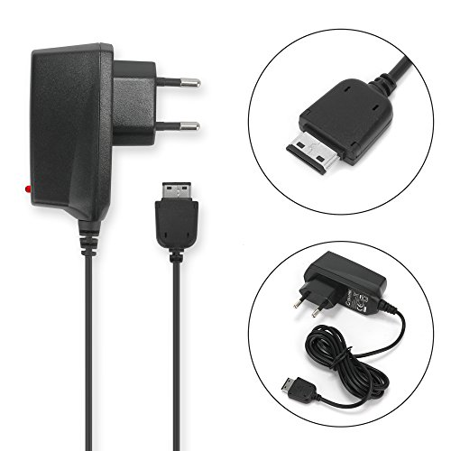 CELLONIC® Cargador - 1.4m (0.5mA/500mA) para Samsung GT-S5230/GT-E1200i/GT-E1200/GT-E1190/GT-B2100/SGH-F480/GT-E105 (5V/Samsung Connector) Cable de carga negro