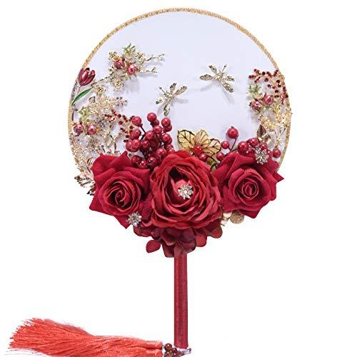 ZXF Braut Hand Fan dreidimensionale Blumenmosaik Hand Fan Klassische Hochzeit liefert Requisiten Runde Fan Kunsthandwerk - Braut-fans
