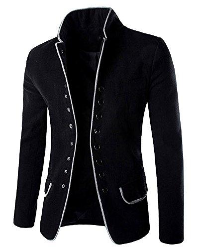 Minetom Herren Stehkragen Sakko Business Anzug Klassisch Knopf Slim Fit Blazer Büro Alltag Kurzmantel Haarig Tunika Jacke Mantel Outerwear Schwarz EU S (3-knopf-klassisches Anzug)