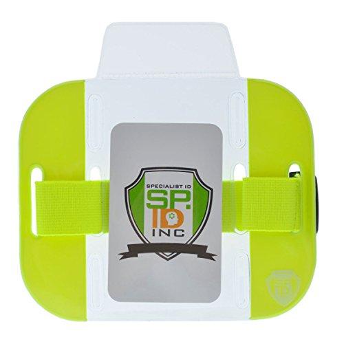 Hohe visibility- Bright Armband Ausweishalter (2Pack)–Sicher Toplader mit verstellbaren elastischen Band durch Specialist ID gelb