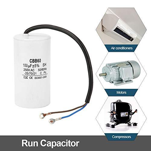 CBB60 Kondensator 250V 100uf,Jectse Betriebskondensator Motorkondensator Anlaufkondensator mit guter Schlagfestigkeit, starke Überlastfähigkeit für Klimaanlagen, Kompressoren und Motoren -