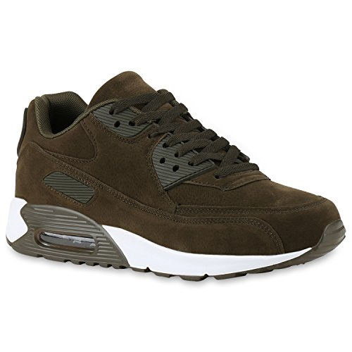Herren Sport Leder-Optik Sneakers Velours Glitzer Metallic Runners Freizeit Schnürer Schuhe 134749 Olivgrün Velours 42 | Flandell® (Metallic-velour)