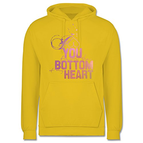 Statement Shirts - I love you from the bottom of my heart - Männer Premium Kapuzenpullover / Hoodie Gelb