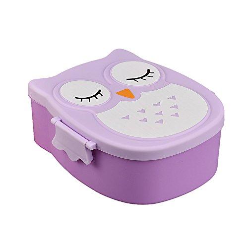 WHSHINE niedlichen Cartoon Eule Lunch Box Essen Obst Container Storage Box Portable Bento Box Microwave Lunch Box For Kids Food Storage Container Bento Box Portable School (Lila,16 * 13 * 6cm) (Bento-box-container Kids)