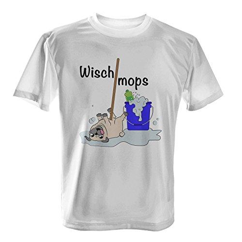 Wischmops - Herren T-Shirt von Fashionalarm   Fun Shirt Spruch Spaß Wischmopp Putzen Mops Hund lustig niedlich süß, Farbe:weiß;Größe:5XL