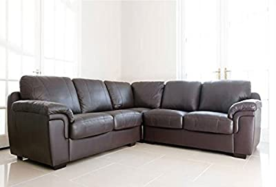 Dallas Chocolate Brown PU Leather Large corner Group Sofa Suite from Meble roberto