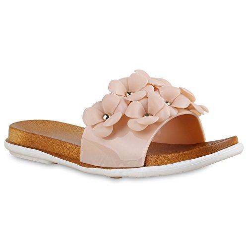 Damen Sandalen Pantoletten Blumen Schlappen Flats Schuhe Nude
