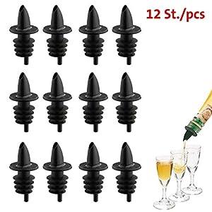 Westmark 12 Spirituosen-Ausgießer für Flaschen, Mit Luftröhrchen, Kunststoffkorken, Jet-Pour, Schwarz, 4110208S