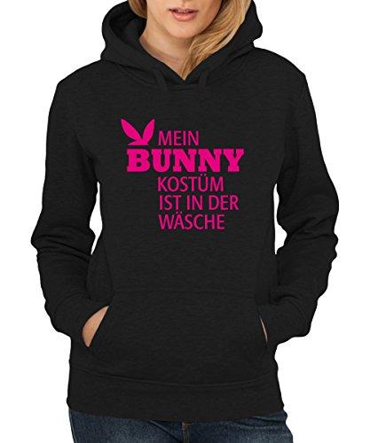 ::: MEIN BUNNYKOSTÜM IST IN DER WÄSCHE ::: Girls Kapuzenpullover Ostern Schwarz/Pink, Größe (Oster Sexy Bunny Kostüme)