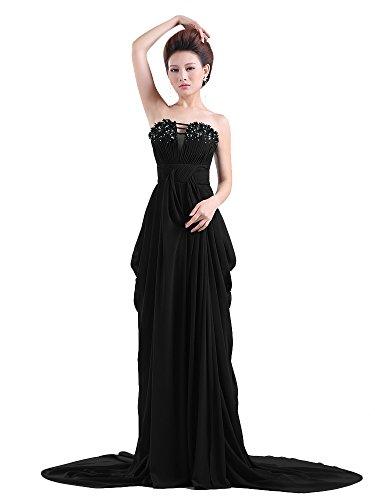 Dressystar Robe de soirée formelle, Sans Bretelles, Perlée, en Mousseline Noir
