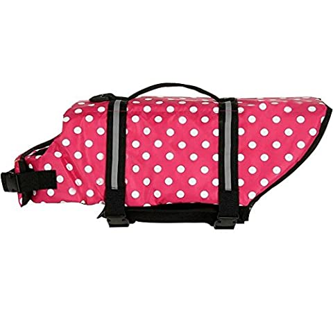 Pingxia Pink Oxford Breathable Mesh Pet Dog Life Jacket Buoyancy Vest with Velcro Closure,Buckles and Reflective Stripes(XL: chest circumference