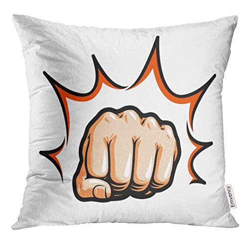 Trsdshorts Throw Pillow Cover Bump Hand Fist Punching Hitting Comic Pop Symbol Knockout Decorative Pillow Case Home Decor Square 18x18 Inches Pillowcase Knockout-zip