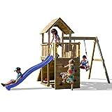 Fungoo Spielturm Carol 3 Premium Kletterturm Garten mit Holzdach inkl. Bodenanker Schaukel Blaue Rutsche Klettertreppe mit Kletterseil Kletterwand Holz