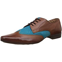Knotty Derby Men's Elphias Wing Cap Derby Coco and Light Blue Formal Shoes