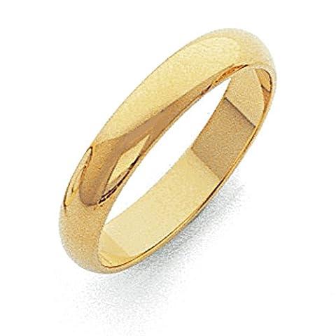 14ct 4mm leicht halbrund Band Ring–Größe X 1/2