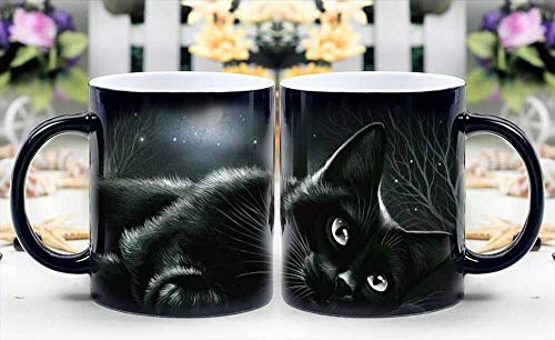 Magic – tazza termosensibile cambia colore coffee cup – black cat in moonlight magically appear