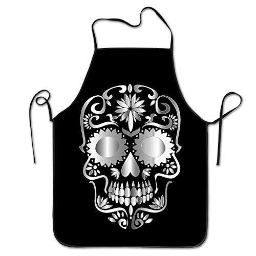 Nicegift Prismatic Sugar Skull Day of Dead Unisex Cooking Kitchen Aprons Chef Apron ()