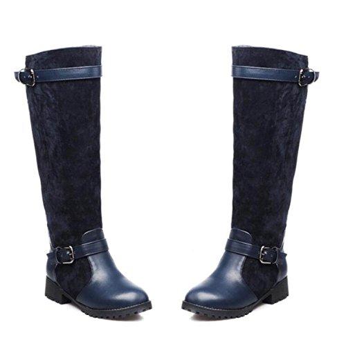 Automne Et L'hiver Mode Bottes Hautes Sauvages Plat Plat Avec Des Bottes De Pêche Bottes Bottes Chevalier Bleu