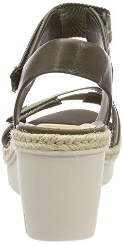 Clarks Palm Shine, Sandali con Cinturino Alla Caviglia Donna Verde (Khaki Leather)