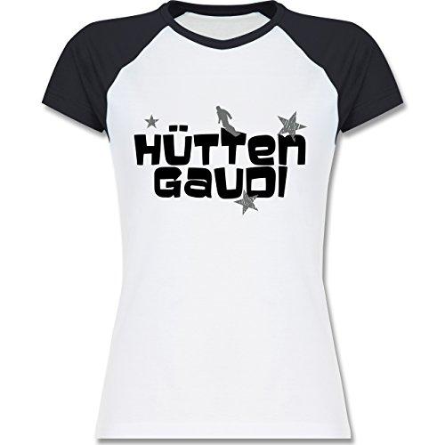 Shirtracer Après Ski - Hüttengaudi Snowboarder - Zweifarbiges Baseballshirt/Raglan T-Shirt für Damen Weiß/Navy Blau