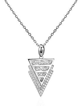 Silberfarbenes 925Sterling Silber dreieckig Triple Arrows Muster Zirkonia Inlay Anhänger Halskette 41,9cm Kette...