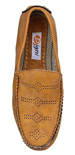 Digni Casual Mocassins Parti de vêtements pour hommes Faux Chaussures en cuir de conduite Slipper Marron