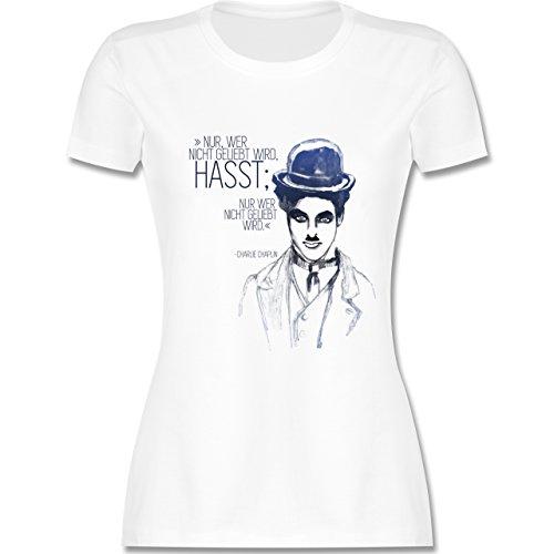 ... tailliertes Premium T-Shirt mit Rundhalsausschnitt für Damen Weiß. Statement  Shirts - Charlie Chaplin - Zitat aus der Rede des großen Diktators (Film)