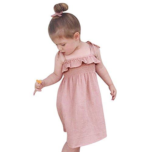 JUTOO Kleinkind Baby mädchen einfarbig Strap Sleeveless Dress Sommer Strand Rock Outfit Kleidung (Rosa,110)