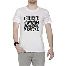 Erido Creedence Clearwater Revival Hombre Camiseta Cuello Redondo Blanco Manga Corta Todos Los Tamaños Mens White
