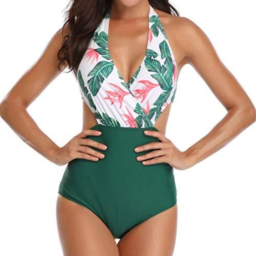 XW_H Traje de baño Mujer Estampado V-Cuello Halter Bañador de Una Pieza | Biquini Bikini | Triquini | Swimsuit (Color...