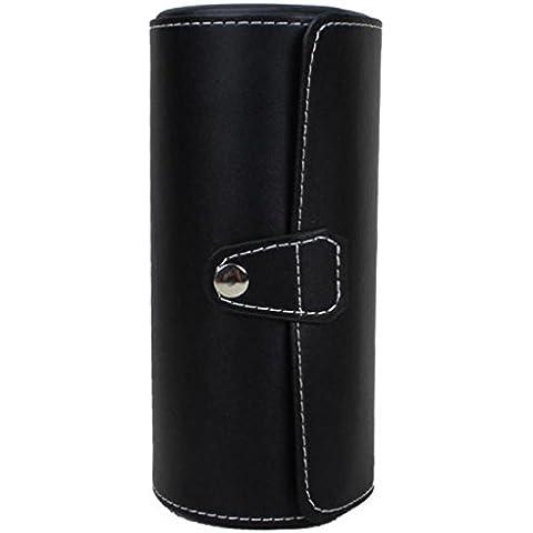 Caja de reloj, Lanowo portátil de cuero de alta calidad de la PU caja del reloj 3 Inserte las ranuras y 3 cojines desprendibles práctica caja de