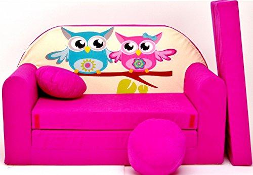 PRO COSMO H30, Divano Letto con Pouf/poggiapiedi/Cuscino, in Tessuto, per Bambine, 168x 98x 60cm, Rosa